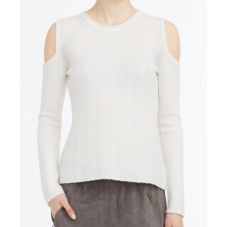 Elie Tahari NEW White Ivory Cold-Shoulder Womens XS Tunic Wool Sweater