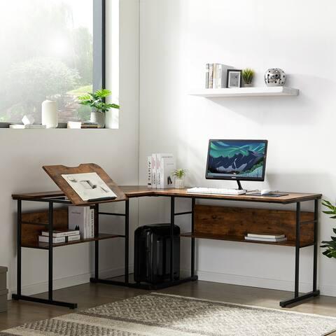 TiramisuBest Home Office L-Shaped Desk with Bottom Bookshelves