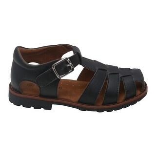 L'Amour Boys Black Lug Sole Buckle Strap Leather Fisherman Sandals 5-10 Toddler