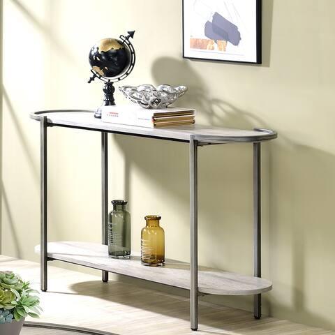 Furniture of America Rowland Light Grey Round Sofa Table