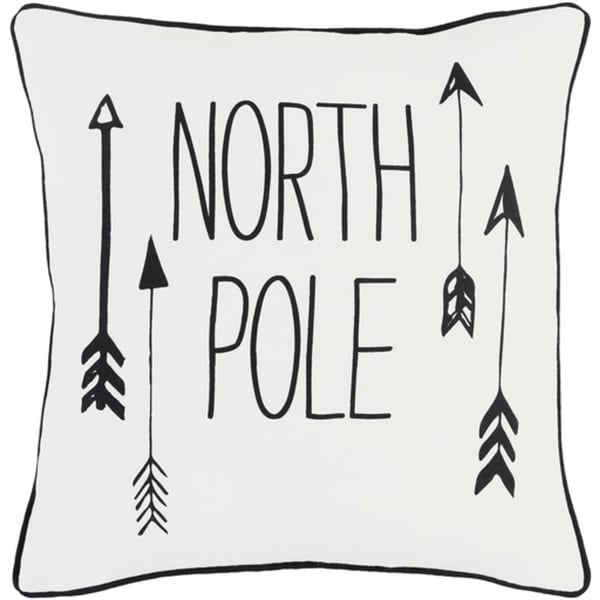 """18"""" Jet Black and Polar White Decorative """"NORTH POLE"""" Holiday Throw Pillow –Down Filler"""