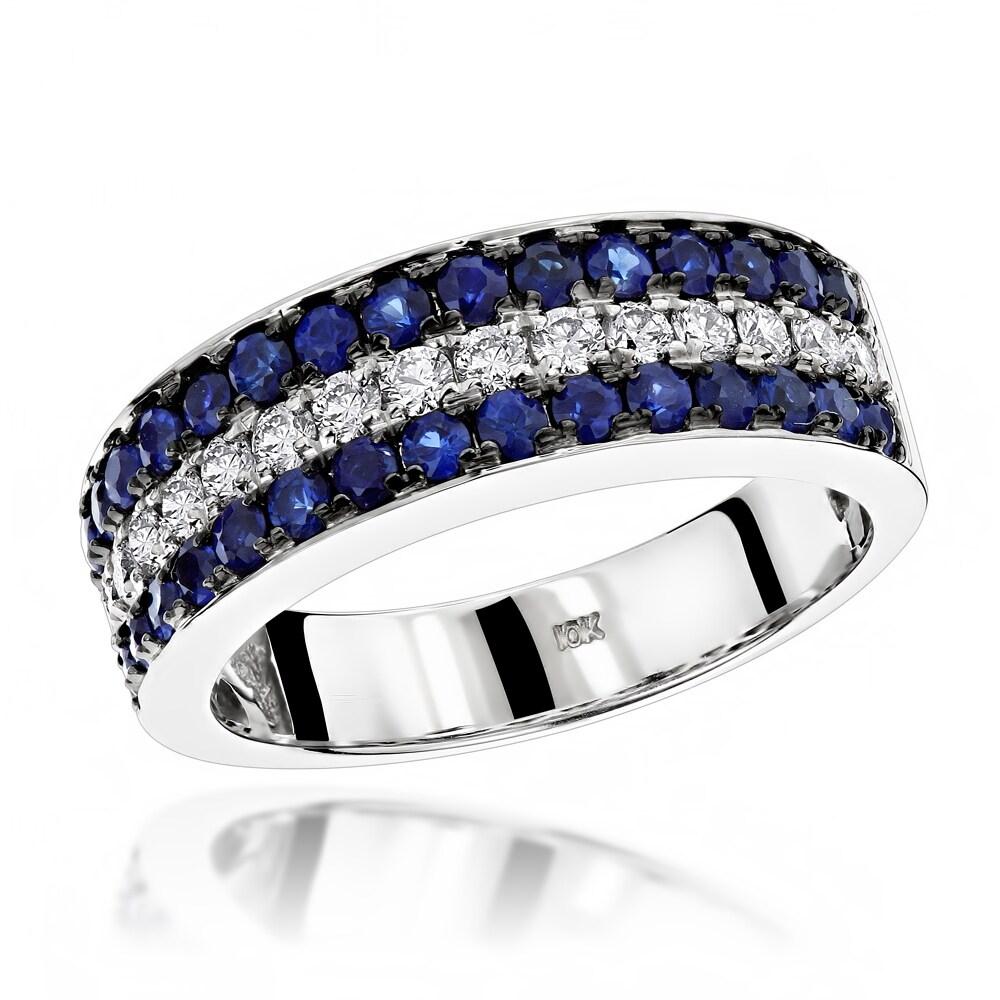 WEDDING BAND 3 ROW PAVE SET 1//5 CARAT DIAMOND 10K GOLD ANNIVERSARY RING IGI