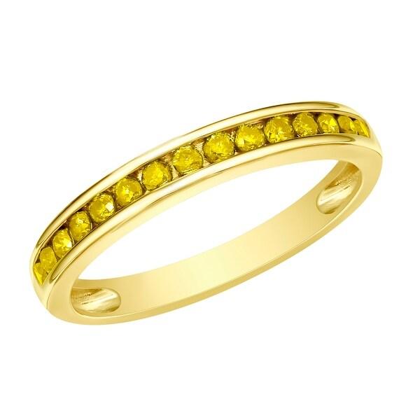 Prism Jewel 1.90MM 0.51CT Channel Set Round Cut Yellow Diamond Anniversary Ring
