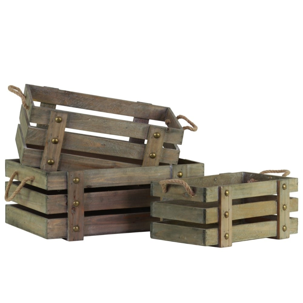 Wood Rectangle Crate with 2 Side Handles, Set of Three, Brown