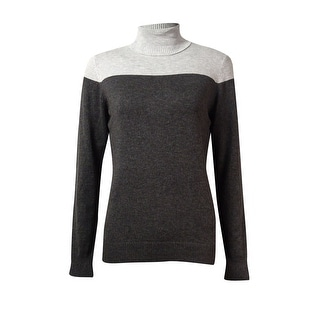 Joseph A. Women's Color Block Long Sleeve Turtleneck Sweater - m