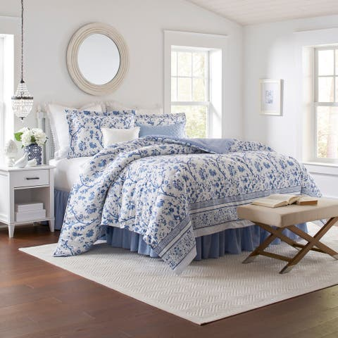 Laura Ashley 100% Cotton Percale_Veronique Blue Comforter Set