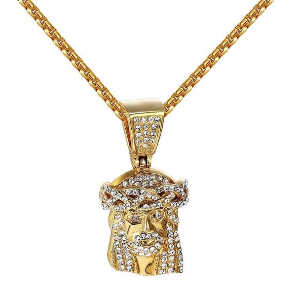 14k Gold Tone Jesus Pendant Simulated Diamonds Stainless Steel Box Necklace 24""