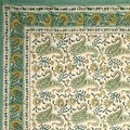 Handmade Rajasthan Paisley Floral Block Print Tablecloth 100% Cotton Rectangle Square Round - Thumbnail 2