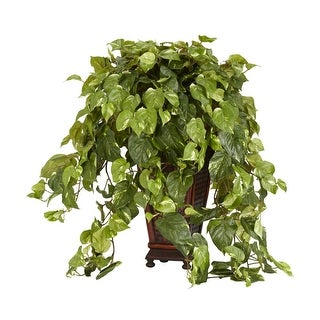 Nearly Natural Vining Pothos with Decorative Vase Silk Plant Green