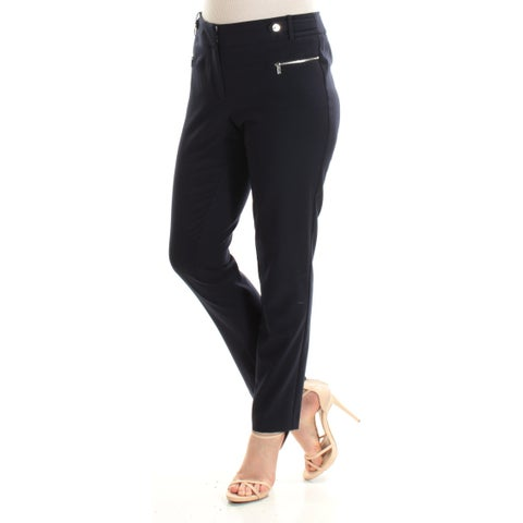CALVIN KLEIN Womens Navy Flat Front Straight leg Wear To Work Pants Size: L