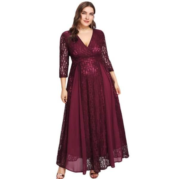 649eea10a887f Shop Women's Plus Size High Waist Lace Overlay Evening Maxi Dress ...