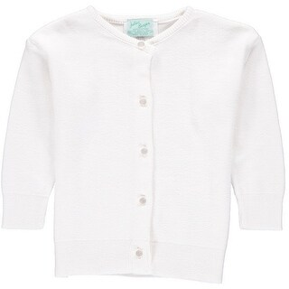 Julius Berger Baby Girls White Cotton Cashmere Waist Length Sweater