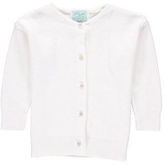 Julius Berger Little Girls White Cotton Cashmere Waist Length Sweater