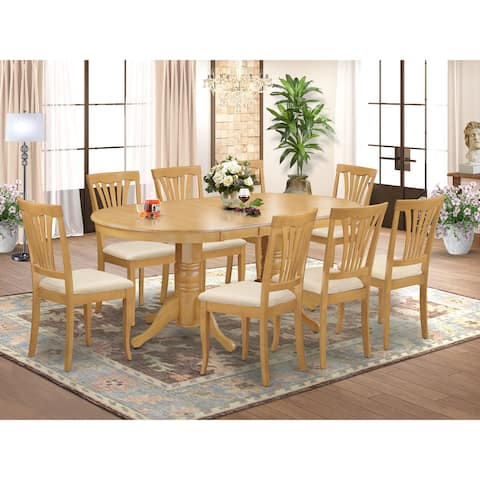 9 Pc Dinette Set - Dining Table with Leaf and 8 Chairs in Oak Finish (Pieces Option