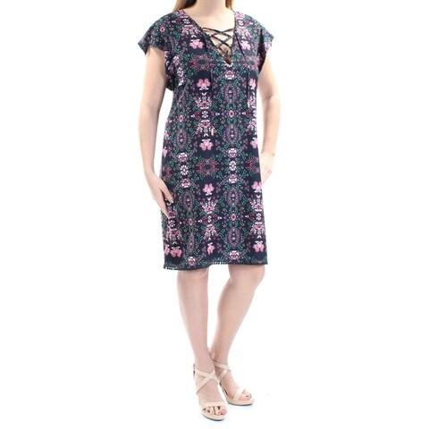 JESSICA SIMPSON Womens Navy Tie Floral Short Sleeve V Neck Knee Length Sheath Dress Size: 8