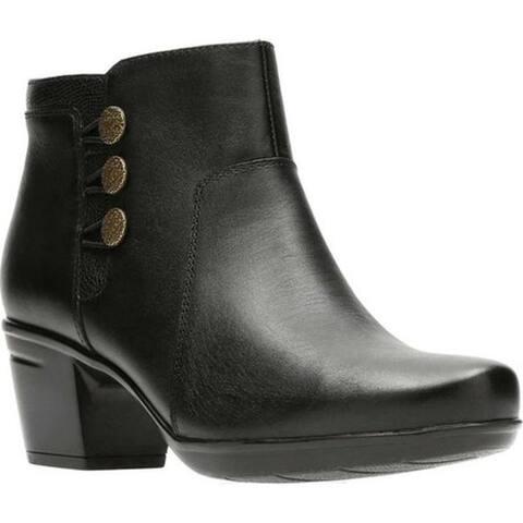 Clarks Women's Emslie Monet Bootie Black Full Grain Leather