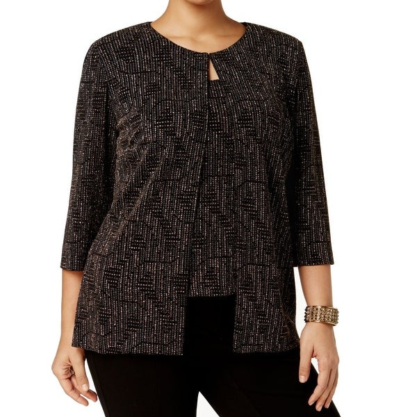 6bcf216073c Shop Alex Evenings Black Women Size 3X Plus Shimmer Twinset Jacket - Free  Shipping Today - Overstock.com - 27114772