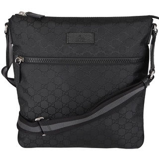 NEW Gucci 449185 Black GG Guccissima Web Trim Crossbody Messenger Purse Bag