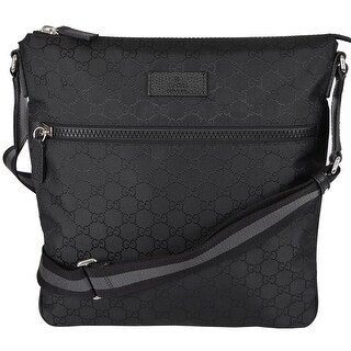 Gucci 449185 Black GG Guccissima Web Trim Crossbody Messenger Purse Bag