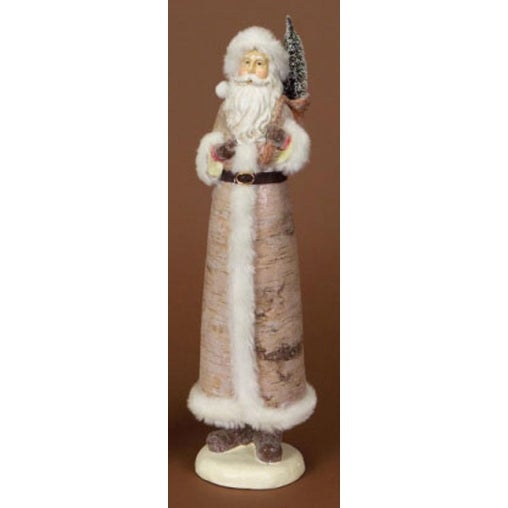 "17.5"" Modern Lodge Birch Santa Claus Christmas Figure with Tree - multi"