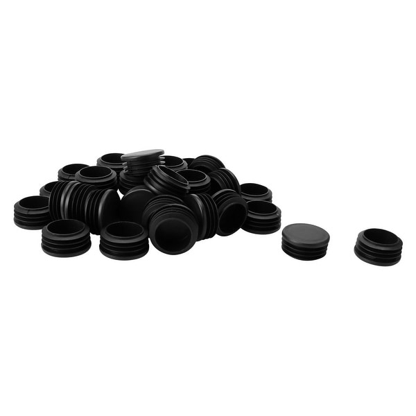 """35pcs 42mm OD Plastic Round Tube Insert Ribbed Pipe Cover Black Floor Furniture Feet Protector, Fit for 1.53""""-1.61"""" Inner Dia"""