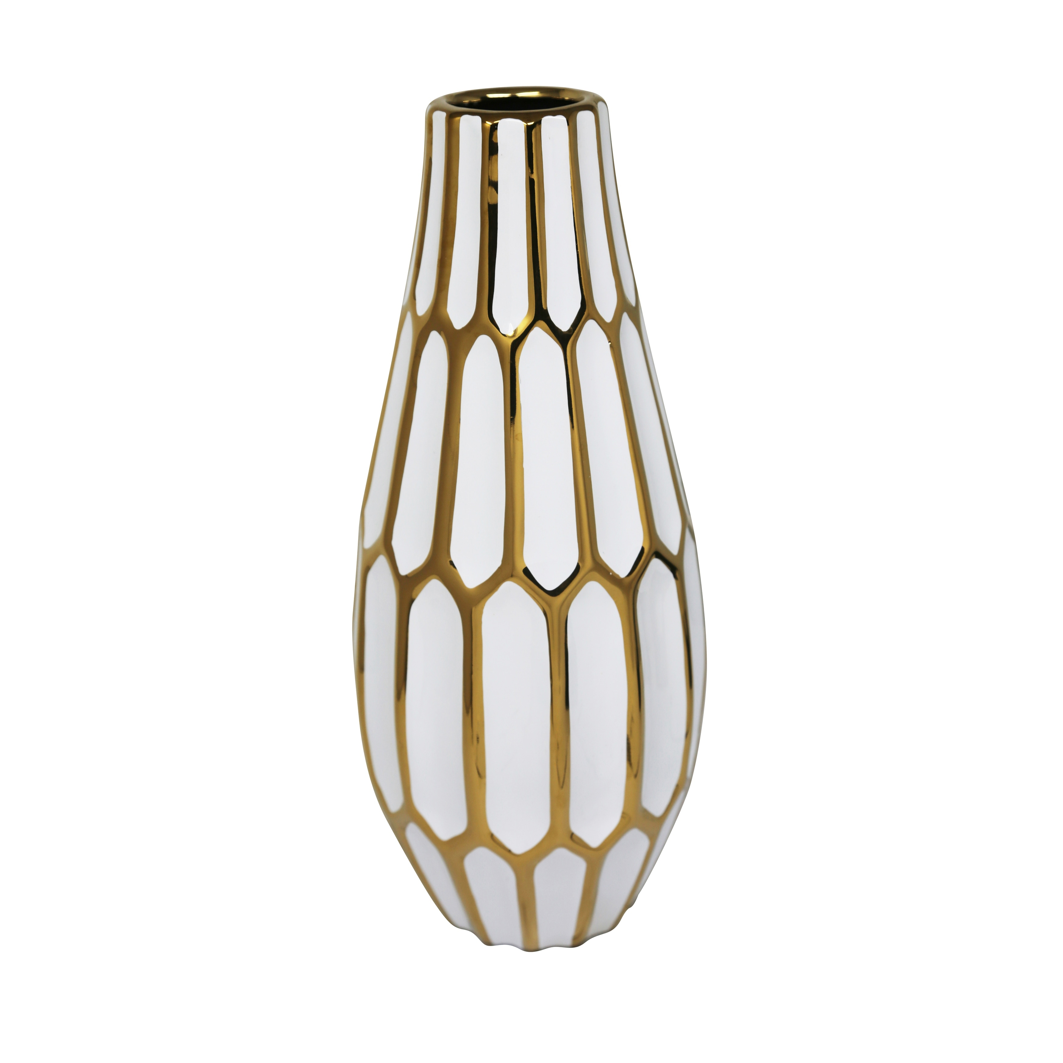 Ceramic Convex Shaped Table Vase with Geometric Bud Design, White and Gold