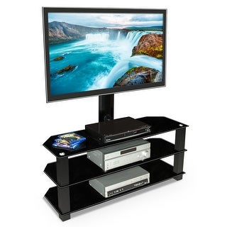 Mount-It! TV Center Stand With Mount and Glass Shelves