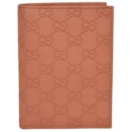 Gucci 346079 Saffron Tan Leather GG Guccissima Passport Holder Bifold Wallet