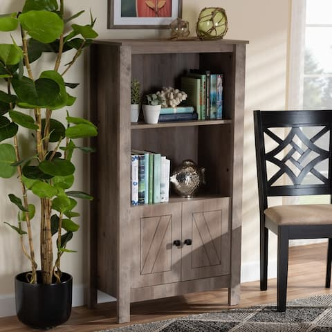 Derek Transitional Natural Oak Finished Wood 3-Tier Bookcase
