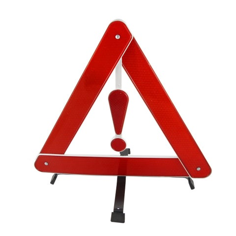 Black Metal Bracket Red Plastic Security Warning Triangle Reflector