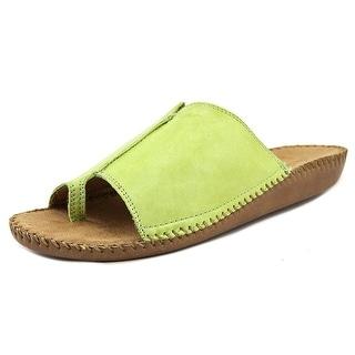 Auditions Sprint Women WW Open Toe Leather Green Slides Sandal