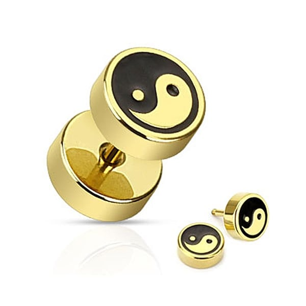 Ying Yang with Black Inlay Fake Plug Gold IP Over 316L Surgical Steel (Sold Individually)