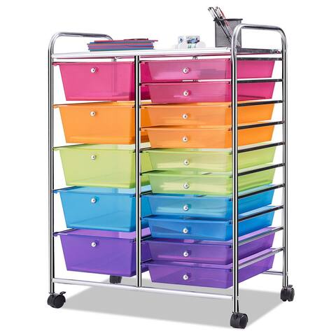 Costway 15 Drawer Rolling Storage Cart Tools Scrapbook Paper Office