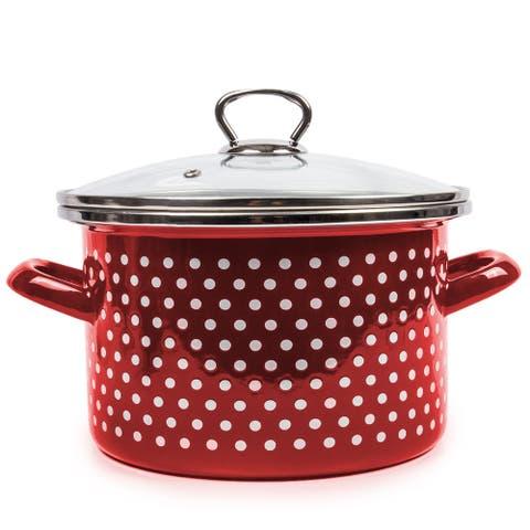 STP Goods Burgundy Polka Dot Enamel on Steel 5.3-quart Pot w/Glass Lid