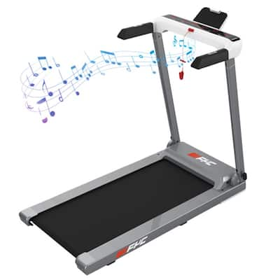 Folding Electric Treadmill With LED Display&Phone Holder,Gray