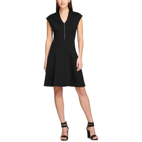 DKNY Womens Scuba Dress Zip-Front V-Neck