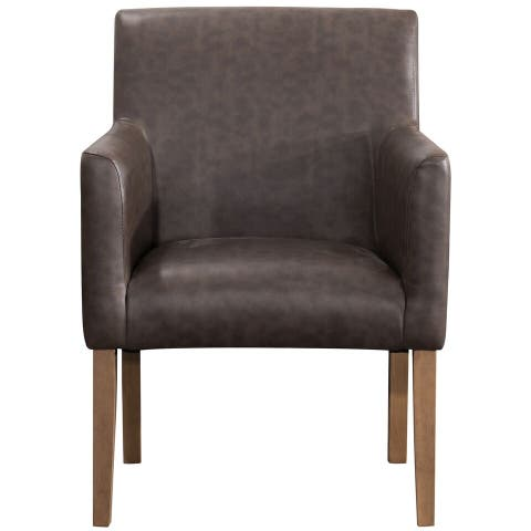 Homepop Lexington Dining Chair - Brown Faux Leather