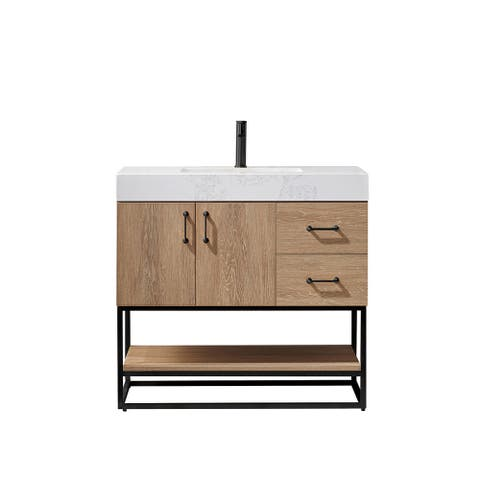 "Alistair 36B"" Vanity with White Grain Stone Countertop Without Mirror"