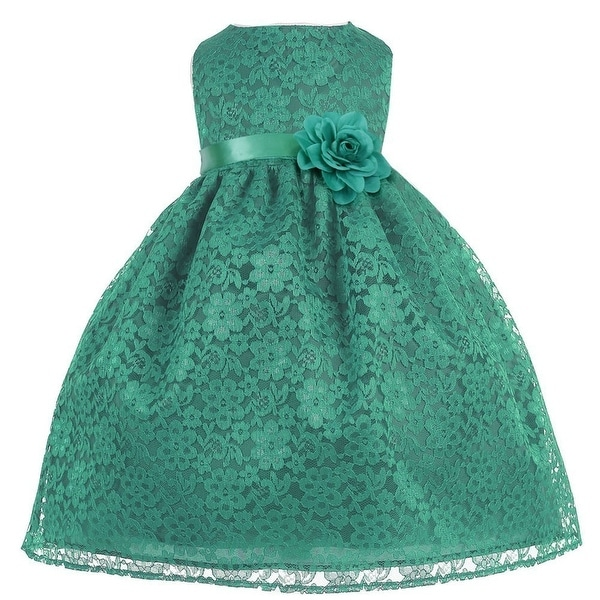5c2d1095533 Shop Baby Girls Green Floral Lace T-Length Flower Girl Dress 6-24M - Free  Shipping On Orders Over  45 - Overstock - 21158789