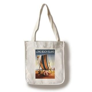 Long Beach Island Beach Chair & Ball - LP Artwork (100% Canvas Tote Bag Gusset