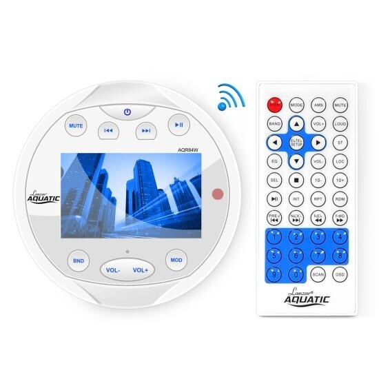 Waterproof Bluetooth Marine Digital Media Receiver Stereo Radio (USB/MP3, AUX, Video Inputs) AM/FM Radio, Round/Circle, White