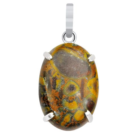 Mookaite Sterling Silver Oval Chain Pendant by Orchid Jewelry