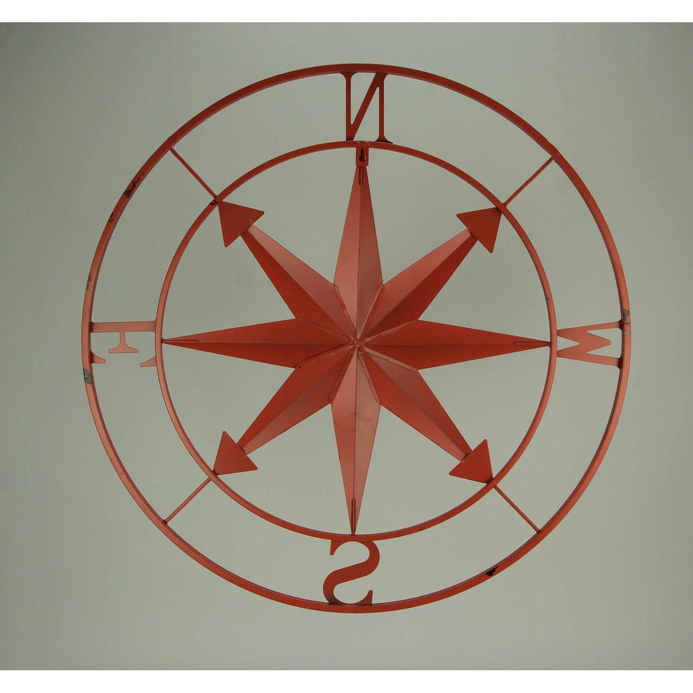 Zeckos Distressed Metal Indoor//Outdoor Compass Rose Wall Hanging 28 Inch