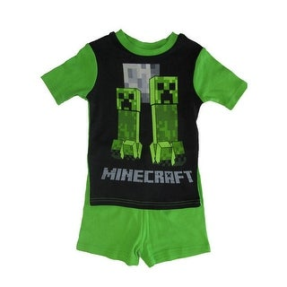 Minecraft Boys Green Short Sleeve 2 Pc Pajama Set