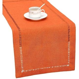 Grelucgo Handmade Hemstitch Orange Thanksgiving Table Runner or Dresser Scarf, Fall Autumn Decorations(14 x 60 Inch)