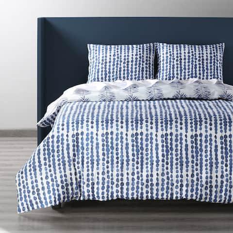 Exclusive Fabrics Tahiti Blue Cotton Percale Printed Reversible Duvet Cover Set