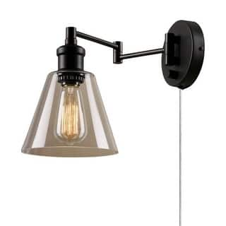 Globe Electric 65311 LeClair Single Light Swing Arm Wall Sconce with Clear Glass Shade and Canopy On / Off Switch - Gold|https://ak1.ostkcdn.com/images/products/is/images/direct/692e487a59d150404d5e3fcceba9ed97e67d0902/Globe-Electric-65311-Single-Light-Swing-Arm-Wall-Sconce-with-Clear-Glass-Shade-and-Canopy-On---Off-Switch.jpg?impolicy=medium