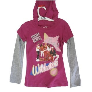 Disney Little Girls Burgundy High Scool Musical Hooded Long Sleeve T-shirt 5-6