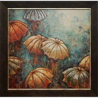 33.5 x 33.5 in. Umbrellas Framed Cityscape Art Print