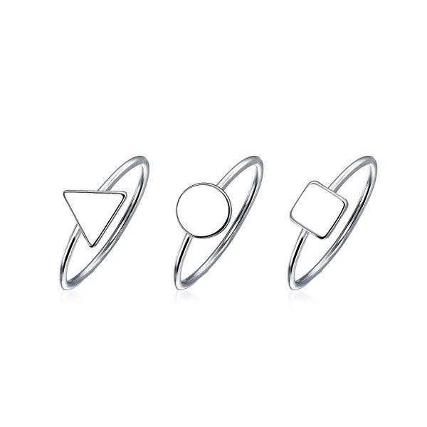 26e00aad7937f Shop 3 Set Minimalist Geometric Pyramid Circle 925 Sterling Silver ...